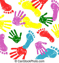 abstract background - abstract vector hand and foot prints...