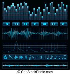 Music background. - Notes, buttons and sound waves. Music...