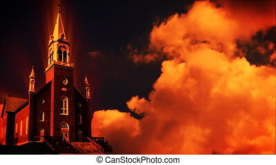 Church at sunset, time lapse