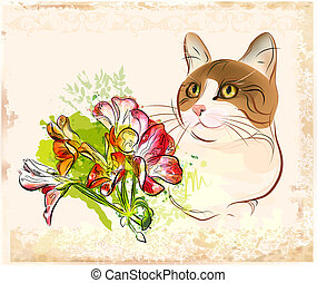 vintage portrait of  cat with flowers
