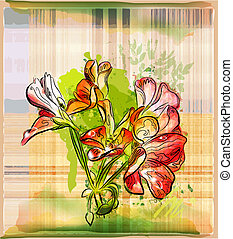 hand painted red geranium flowers on the checked background
