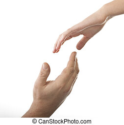 Helping hand, male hand takes young female hand