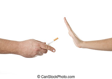 Stop smoking - hand saying no thanks to a cigarette
