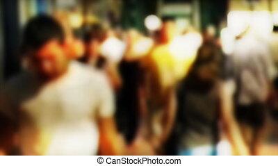 Crowd slow motion, lens bokeh