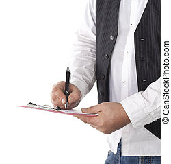 Businessman writes on clipboard, isolated over white...
