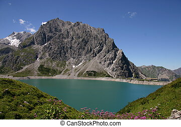 Alps, mountain Schesaplana and lake - Alps, the mountain...