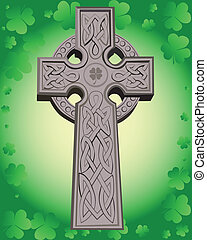 Celtic cross on a green background leaf clover