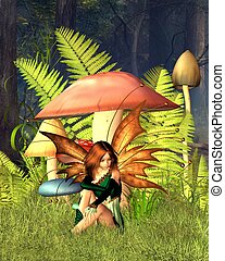 Woodland Mushroom Fairy with forest - Pretty fairy sitting...