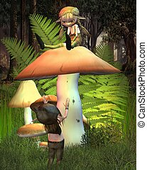 Two little goblins on a mushroom