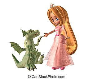 Toon Princess and Baby Dragon - Pretty toon fairytale...