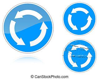 Variants a Circular motion - road sign