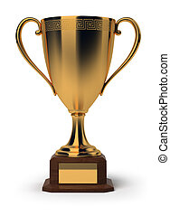 golden_cup - Golden cup. 3d image. Isolated white...