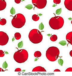 Seamless red apple pattern