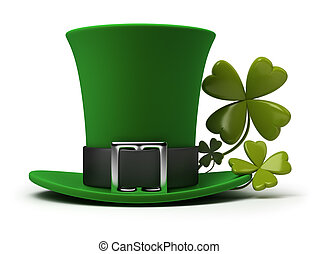 St Patricks hat and clover - St Patricks hat with four-leaf...