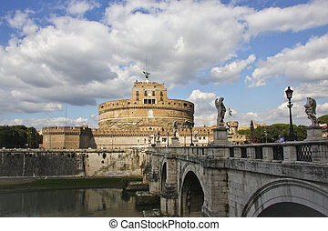 Ponte Sant Angelo and Castel Sant Angelo, Rome, in late...