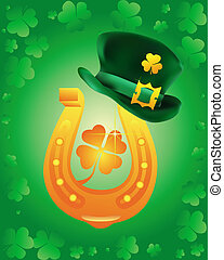 leprechaun hat wearing a gold horseshoe on a green...