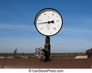 Manometer on a oil pipeline.