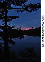 Sunset on a Remote Wilderness Lake with Silhouette of Pine...