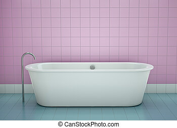 Bathtub in a bathroom 3D render