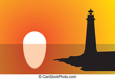 Lighthouse Sunset - A lighthouse silhouette at sunset, with...