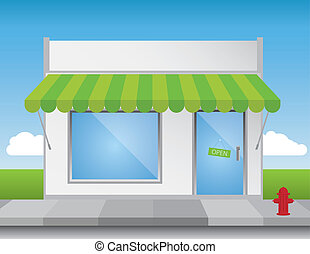 Shop Front - Shop front illustration, with shiny elements no...
