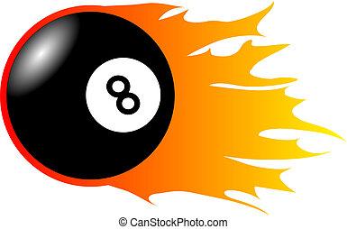 Burning Eight-Ball - This illustration shows an burnining...