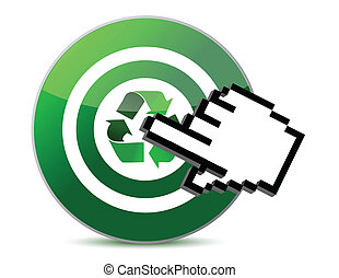 targeting recycle and cursor hand isolated over a white...