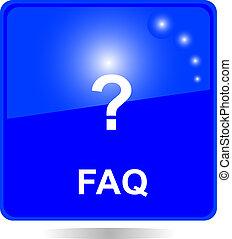 blue square FAQ web button - blue square FAQ button with...