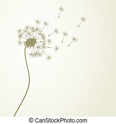 Dandelion - From a dandelion flower seeds fly away A vector...