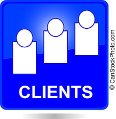 blue square clients button - blue square clients web button...