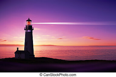 Lighthouse searchlight beam through marine air at night
