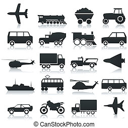 Transport icons - Collection of icons of transport A vector...