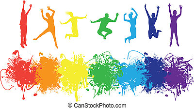 people jumping on a rainbow