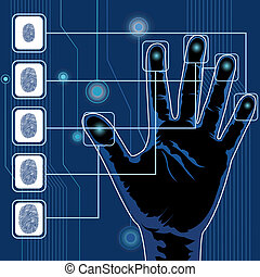 Hand Scanning - illustration of finger print testing with...