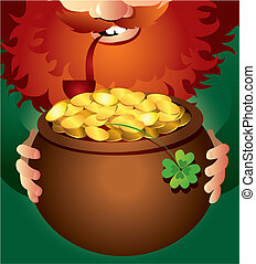 Leprechaun on Patricks Day - Vector illustration of...