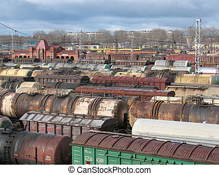 Rail cars on a rail road. - On a railroad. Rail cars after...