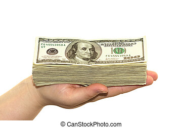 hand with cash isolated on white background