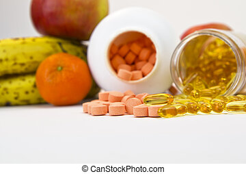 Daily Supplements - Vitamins, fish oil and fruit shot under...