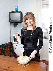 The girl with a blender