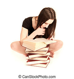 Young student reading in a book - Beautiful young student...