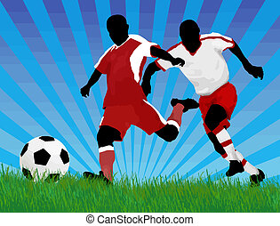 Soccer players - Soccer player attack gate of the opponent,...