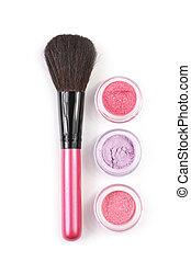Make-up brush and eye shadows - Pink make-up brush and...