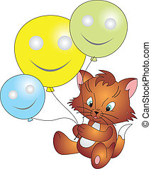 Cat vector - Cat with Balloons isolated on white background...