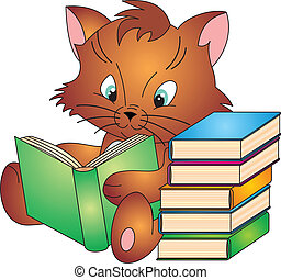 Cat vector - Cat with Book isolated on white background....