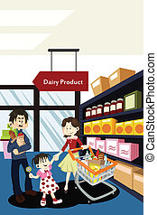 Family shopping grocery - A vector illustration of a family...