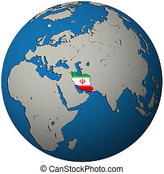 iran flag on globe map - iran territory with flag on map of...