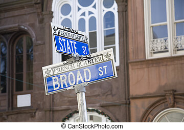 french quarter street sign - corner street sign depicting...