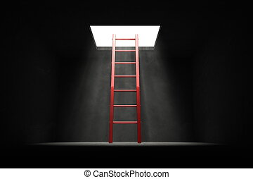 Exit the Dark - Red Ladder to the Light - red shiny ladder...