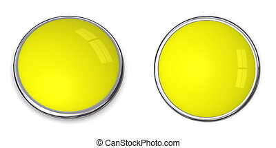 3D Button Solid Yellow - 3D button in solid yellow, front...