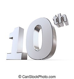 Shiny 10th - SilverChrome - shiny 3d number 10th made of...